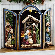 folding fire place screen with nativity scene at hsn com lovely