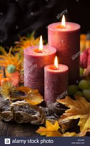 thanksgiving dinner concept lit candles with pumpkins grapes