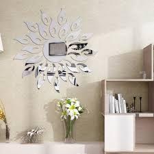 Silver Diy Sun Mirror Wall Stickers For Wall Decor