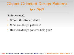 php design patterns object oriented design patterns for php