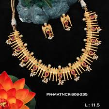 necklace pattern collection images Koorgi pattern matt finish ruby emerald necklace set fb01 griiham jpg