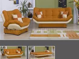 Orange Sleeper Sofa U0026 Cream Two Tone Microfiber Living Room W Sleeper Sofa