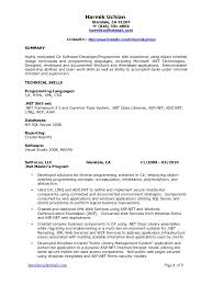 Asp Net Resume For Experienced Dot Net Resumes 1 Years Experience Contegri Com