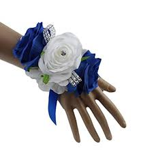 royal blue corsage royal blue white and silver grey artificial wrist