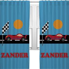 race car curtains 2 panels per set personalized potty
