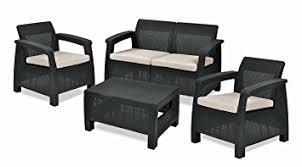 Keter Corfu Outdoor  Seater Rattan Furniture Set With Accent - Rattan furniture set