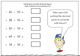 maths worksheet divide by 10 with decimals 2 maths blog