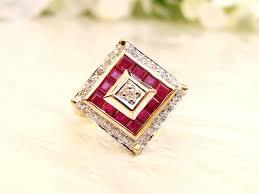 art deco style ruby spinel u0026 diamond ring unique square