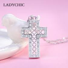 aliexpress buy new arrival hight quality white gold ladychic 2018 new design cross cubic zirconia trendy necklace high