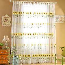Sunflower Yellow Curtains White Yellow Sunflower Yarn Transparent Sheer Curtains