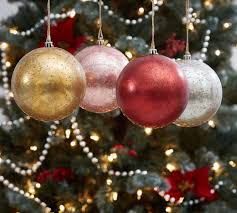 sphere ornaments multi colored set of 4 pottery barn