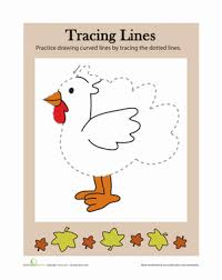 tracing lines thanksgiving worksheet education
