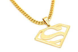 gold color superman shape pendant 27 5inch cuban chain hiphop symbol costume necklace lovers jewerly jpg