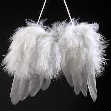 white feather wings tree hanging ornaments