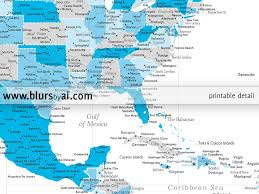 Map Of The Usa With Cities by Personalized North America Map Highly Detailed North America