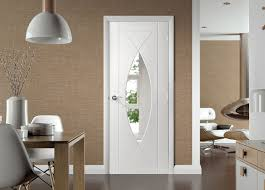 White Toughened Glass Bedroom Furniture Pesaro White Primed Flush Door With Clear Safety Glass Safety