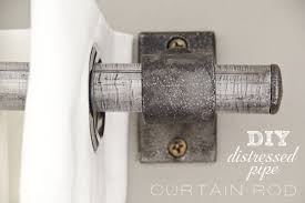Easy Curtain Rods Diy Painted Stripe Curtains And Distressed Pipe Curtain Rod The