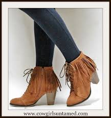 Brown Fringe Ankle Boots Cowgirl Style Boots Lace Up Front Brown Suede Fringe Ankle Boots