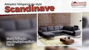 avis vente unique canapé canapé d angle panoramique visby en tissu