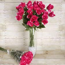 48 pcs silk roses single stems flowers wedding bouquets