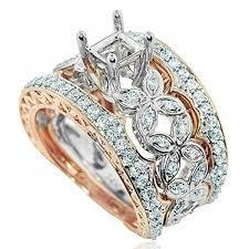 white gold wedding sets 14k gold white gold wedding set semi mount fits 1ct princess