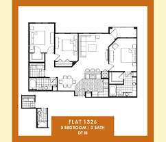 Split Two Bedroom Layout 3 Bedrooms 2 Baths The Flats At Avalon Park The Flats At