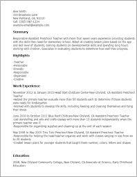 Working With Children Resume Assistant Preschool Teacher Resume Best Resume Collection