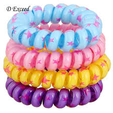 bobbles hair fashion big size hair rings coloured telephone wire hair elastics