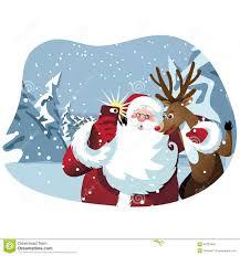 cartoon santa claus and reindeer take a selfie stock vector