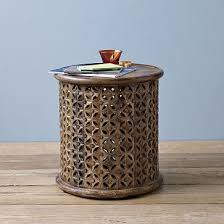 Drum Accent Table Beautiful Metal Drum Accent Table With Carved Wood Side Table West