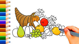 how to draw a cornucopia how to draw thanksgiving stuff draw