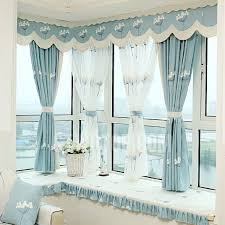 Nursery Valance Curtains Eco Friendly Linen Cotton Blend Fabric Blue Color Embroidered
