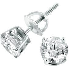 white gold earrings 14k white gold diamond stud earrings 1 75ct