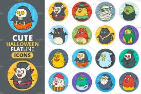cute halloween cartoons cute flat halloween characters vol 2 illustrations creative market