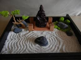 Tabletop Rock Garden Desk Or Table Top Zen Garden With Solid Oak Stand And Buddha Diy