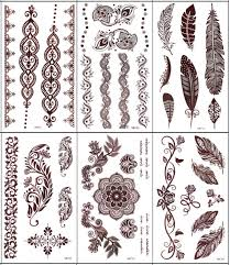 5pcs brown henna tattoo flower feather totem designs temporary