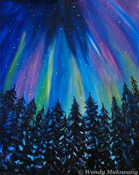 how to paint northern lights northern lights paint party at canalside restaurant wendy malowany