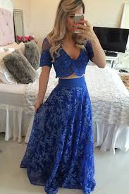 two piece prom evening dress royal blue floor length short sleeves