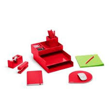 red office desk accessories poppin cobalt starter set desk accessories cool office supplies