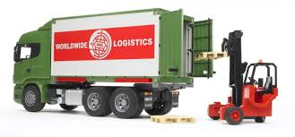 bruder fire truck scania r series truck with interchangeable container and forklift