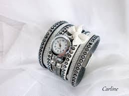 bracelet montre images Manchette bracelet montre cuir krista argente paillettes blanc jpeg