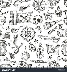 Map Pattern Seamless Pattern Pirate Elements Hand Drawn Stock Vector 396541156