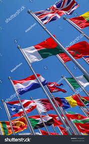 Flags Of All Nations Flags All Nations World Flying Blue Stock Photo 125735675