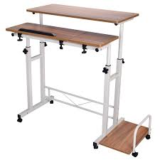Mobile Computer Desk Mobile Height Adjustable Computer Workstation Stand Up Laptop