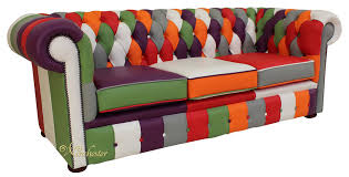 Chesterfield Patchwork Sofa Chesterfield Patchwork 3 Seater Settee Leather Sofa Offer