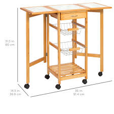 Folding Kitchen Island Cart Best Choice Products Portable Folding Tile Top Drop Leaf Kitchen Islan