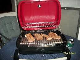 uniflame 10 000 btu single burner portable gas grill red sedona