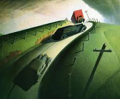 in on the ridge road 1935 the first painting in which grant introduced the automobile mayhem overshadows a rural idyll williams college museum of
