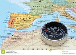 Spain On A Map Travel Destination Spain Map With Compass Stock Photo Image