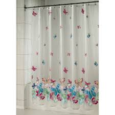 Bathroom Plastic Curtains White Plastic Shower Curtains Colorful Butterfly Theme Also